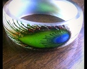 Lucite Clear Plastic Peacock Feather Bangle Bracelet