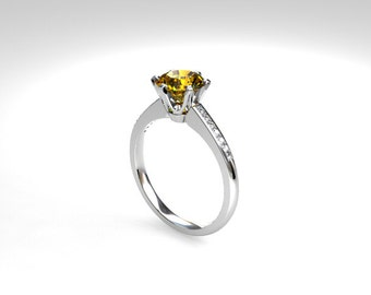Citrine ring, white gold, diamond, engagement ring, yellow, diamond engagement, solitaire, citrine, micro pave, fancy yellow