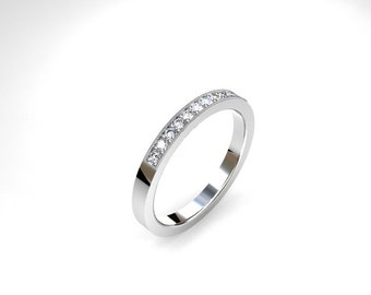 Diamond ring, white gold, micro pave, milgrain, thin diamond band, wedding band, diamond eternity, vintage style