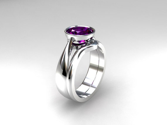 Engagement Ring Set Amethyst Engagement Ring White Gold