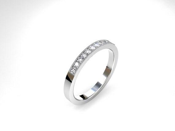 Diamond Ring White Gold Micro Pave Milgrain Thin Diamond