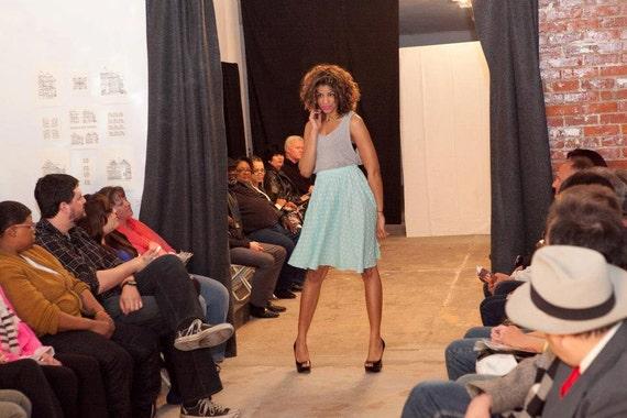 Mint Sheer Highwaisted Patterned Skirt with Elastic waistband