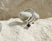 Sterling silver square dangle amethyst charm ring, 'London Chic' spiral band adjustable ring, purple February custom UK Fiona Earlam