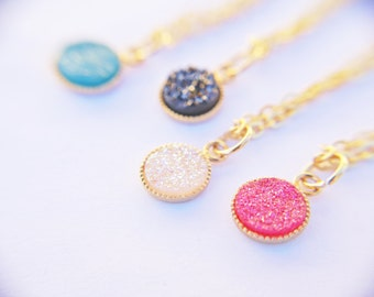 Gold Druzy Necklace, Hot Pink Druzy Pendant, Tiny Druzy Pendant, Druzy Charm Necklace, Small Druzy Necklace, Gold Druzy Jewelry, Drusy