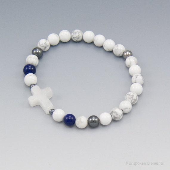 prayer bracelet white howlite with cross christian jewelry