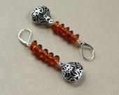 Bohemian Orange Silver Drop Earrings 3D Cutout Boho India Beads Dangle Lever Clasp Hippie Long Fashion Jewelry Free Shipping