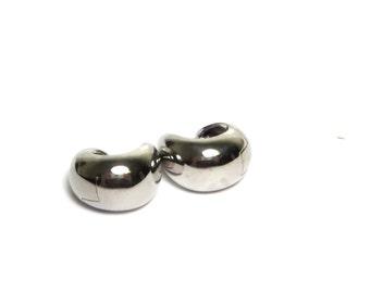14k White Gold Huggie Earrings Pierced - Solid 14K Gold Hoop Earrings - Weight 8.6 Grams # 1699