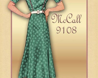 McCall 9108 1930s Dress Pattern Stylish Day Dress with Pretty Bodice Detail Unused Pattern Bust 35