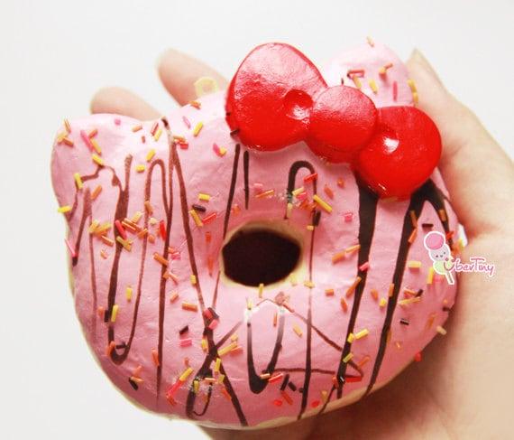 Diy Squishy Hello Kitty : Rare Jumbo Hello Kitty Donut Squishy Charm by UberTiny on Etsy