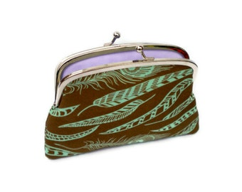 Brown and teal peacock feather frame wallet with kiss clasp and 2 compartments- lilac interior