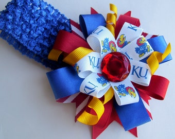 Kansas University JayHawks Hair Bow, K.U. hair bow, Jayhawk baby headband,  Rock Chalk Kansas University headband, Newborn KU headband