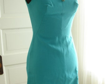 """1960's Mod Teal Blue Dress with Kitten Bow and Rhinestone Button Accents 34"""" Bust"""