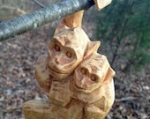 Set of 2 Vintage hand carved wooden hanging monkyes with babies