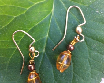 Gold Wire Wrapped Amber earrings