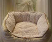 Cream Wedding Doggie Bed Faux Fur and  Soft Cream Minky Fur Yorkie Maltese Chihuahua - DataDesignBoutique