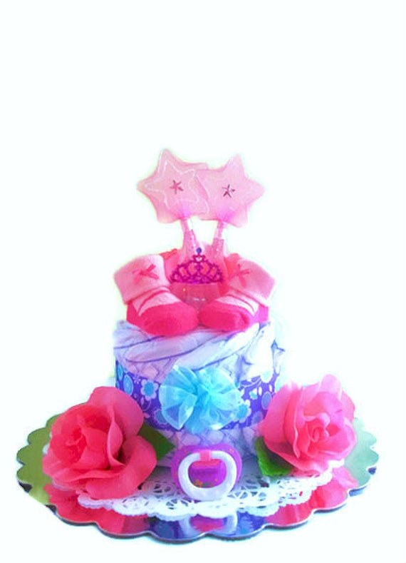 Baby Princess Diaper Cake for Girls, Princess Diaper Cake, Small Diaper Cake, One Tier Diaper Cake, Princess Baby Shower