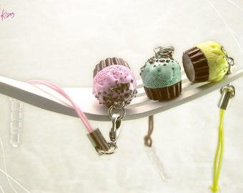 Pastel Cupcake Charm Dust Plug - Strawberry, Mint, Lemon - Cellphone Mini Food Accessory - Dollhouse Food Miniature