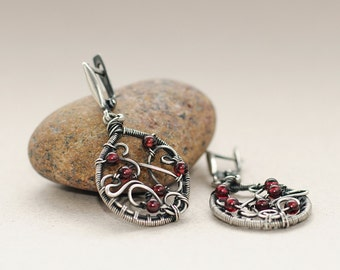 Garnet Earrings Silver Jewelry Wire Wrapped Earrings Red Earrings Garnet Jewelry January Birthstone Unique Gift red garnet sterling silver