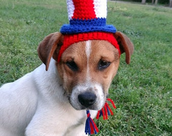 July 4th Dog Hat Dog Costume - CUSTOM SIZES - Uncle Sam Costume Hat - The  Uncle Sam's Puppy Top Hat
