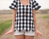 Scallop Hem | Gingham Shirt