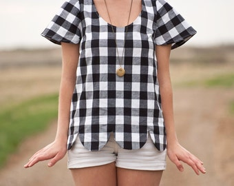 Scallop Hem | Gingham Shirt
