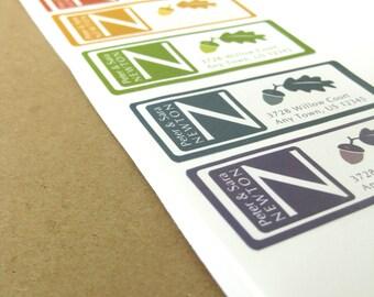 Acorn & Oak Leaf Address Labels, Monogram, 60 Custom Labels, Return Address Label Stickers, Autumn, Fall, Wedding Address Labels