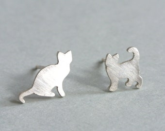 Tiny Silver Cat Stud Earrings