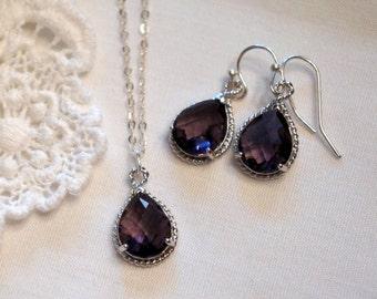 Bridesmaid Jewelry Set Purple Bridesmaid Jewelry Set Bridesmaid Gift Wedding Jewelry