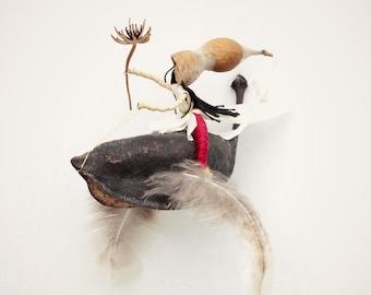A woman riding a magical bird, waldorf Inspired , Ntural home decoration,