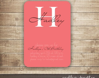 Monogram Invitation for all Occasions / Baptism, Dedication, Birthday, Milestone Birthday Invitation / Modern Pink Monogram