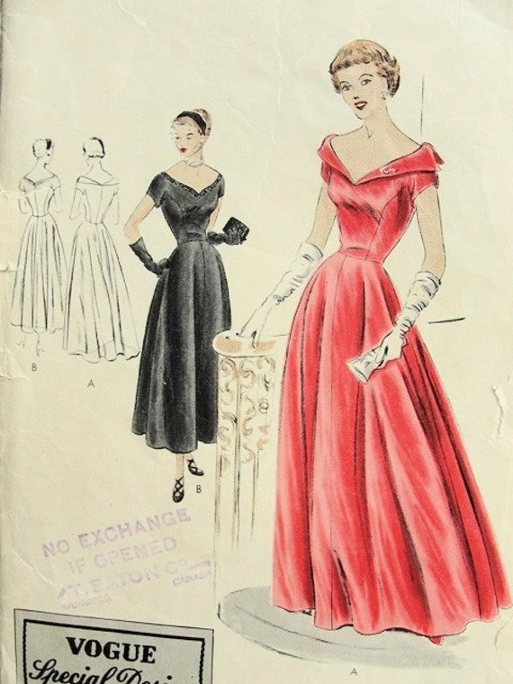 Items Similar To 1940s Vogue Special Design 4042 Evening Gown Formal Party Wedding Dress Pattern