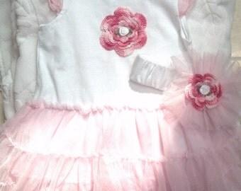 Girls Baby Infant White Pink  2 Piece Set (Bodysuit Tutu, Headband) - Handmade Irish Roses - Sizes 0-3, 3-6, 6-9 months