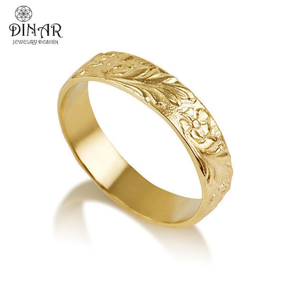 18k Gold Flower Wedding Band Ring Handmade Engraved Wedding
