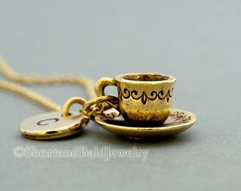 Tea cup and saucer Necklace, tea cup necklace, coffee cup, antique gold, initial necklace, initial hand stamped, personalized, monogram