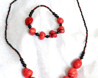 RESERVED Coral Red Dyed Turquoise Nuggets Jewelry Set