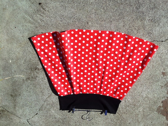 skirt white polka dots on red cotton skirt