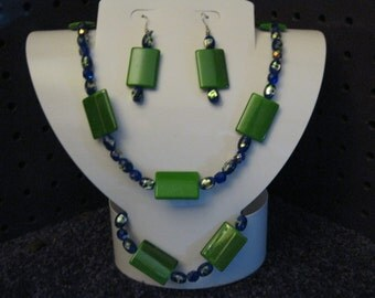 GREEN and BLUE with SILVER Jewelry Set