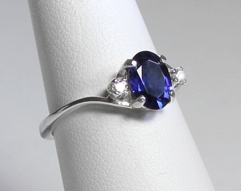 Sterling Silver Blue Sapphire Ring with Diamonds (Lab) / Sapphire Silver Ring