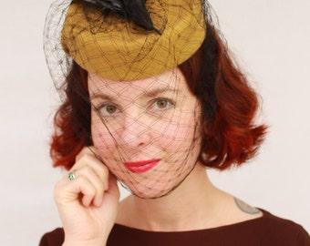 Custom Order: Vintage 1940s-Style Wool Felt Tilt Hat with SINGLE Vintage Faux Bird & Vintage Veiling