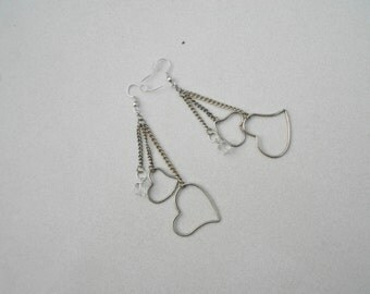 heart pierced earrings chains and crystal cubes dangle