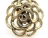 Vintage Metallic Flower Floral Gold Tone Scarf Clip Spring Summer Rose Petal Jewelry Retro Unique Fashion Chic Find Fresh Feminine Romantic