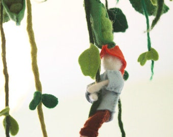Jack And The Beanstalk Storytelling Mobile, Waldorf fairy tale gift, children room decor, cloud mobile, giant, felted educational Playground