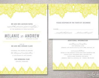 "Modern Lace ""Melanie"" Wedding Invitations Suite - Clean Beautiful Vintage Invite - Custom DIY Digital Printable or Printed Invitation"