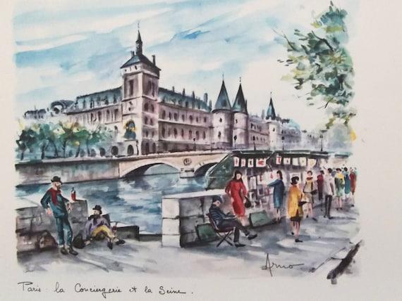 Paris Art Print By Arno Vintage 1950s Watercolor Souvenir