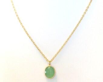 SUMMER LOVIN SALE // Mint Necklace Mint Gold Necklace Mint Green Pendant Gold Chain Mint Bridesmaid Necklace Mint Wedding Jewelry Quartz