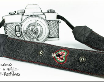 Camera strap, dark grey, bavarian style, Oktoberfest; woolen fabric