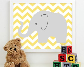 Modern Nursery Art Chevron Elephant Nursery Print, Safari Animal Kids Wall Art for Children Room Playroom, Baby Nursery Decor