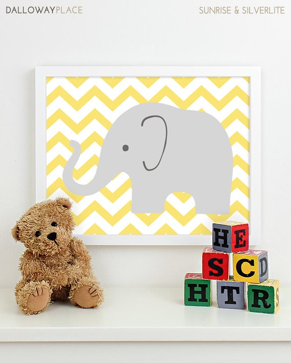 Items Similar To Modern Nursery Art Chevron Elephant