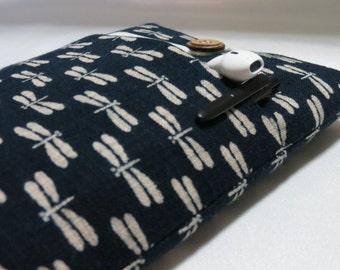 iPad Mini Sleeve, iPad Mini Case, iPad Mini Cover, Kindle, Nook, Nexus pouch With Pocket - Japanese dragonfly indigo cotton