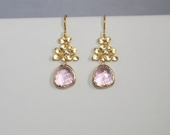 Cherry blossom earrings with pink stone glass drops